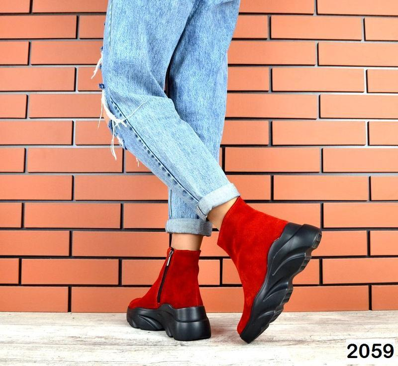 Натуральные красные зимние ботиночки - Фото 2