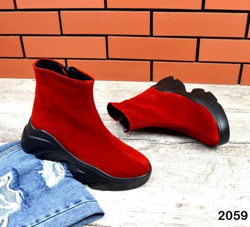 Натуральные красные зимние ботиночки - Фото 4