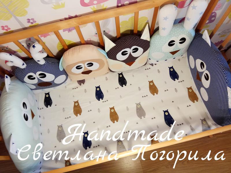 Комплект в кроватку,детское постельное, защита.бортики + простынь