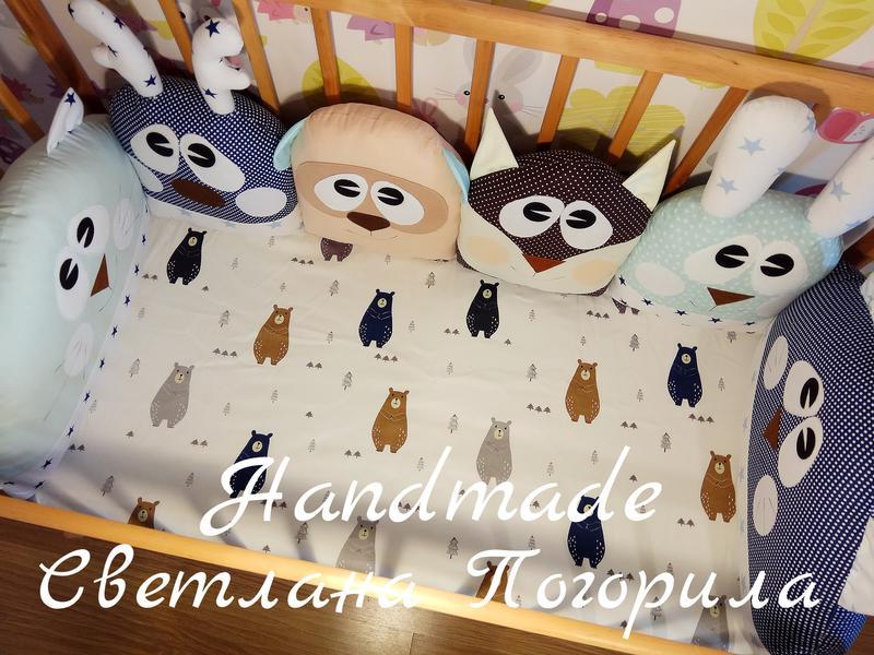 Комплект в кроватку,детское постельное, защита.бортики + простынь - Фото 2