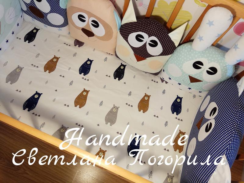 Комплект в кроватку,детское постельное, защита.бортики + простынь - Фото 3