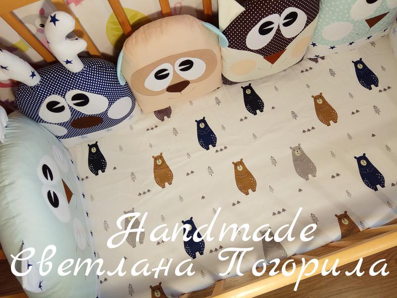 Комплект в кроватку,детское постельное, защита.бортики + простынь - Фото 4