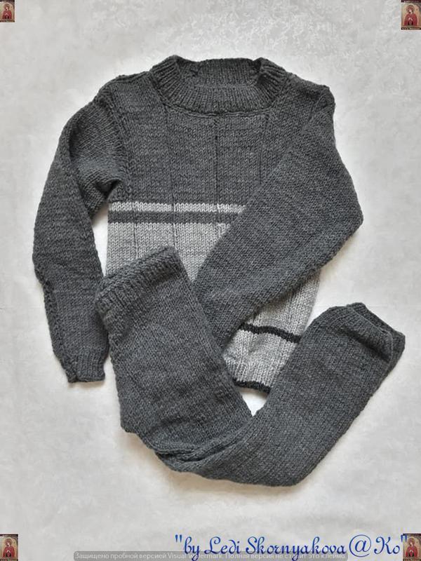 Мега тёплый вязаный зимний костюм: кофта/свитер и штаны ручной...