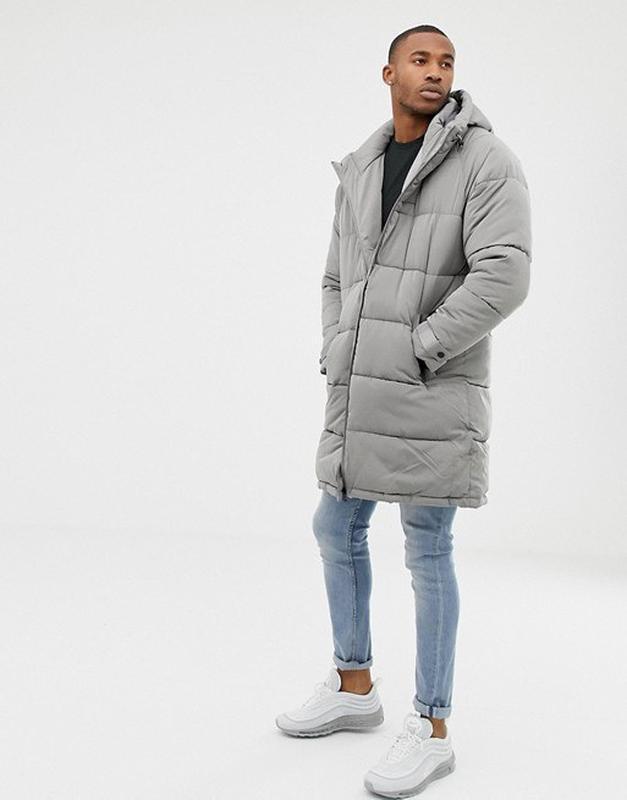Зимний длинный серый пуховик, куртка, парка мужская bershka - Фото 3