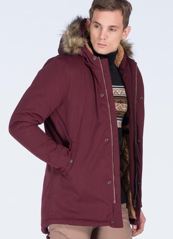 Бордовая мужская зимняя куртка, парка на меху - Фото 3