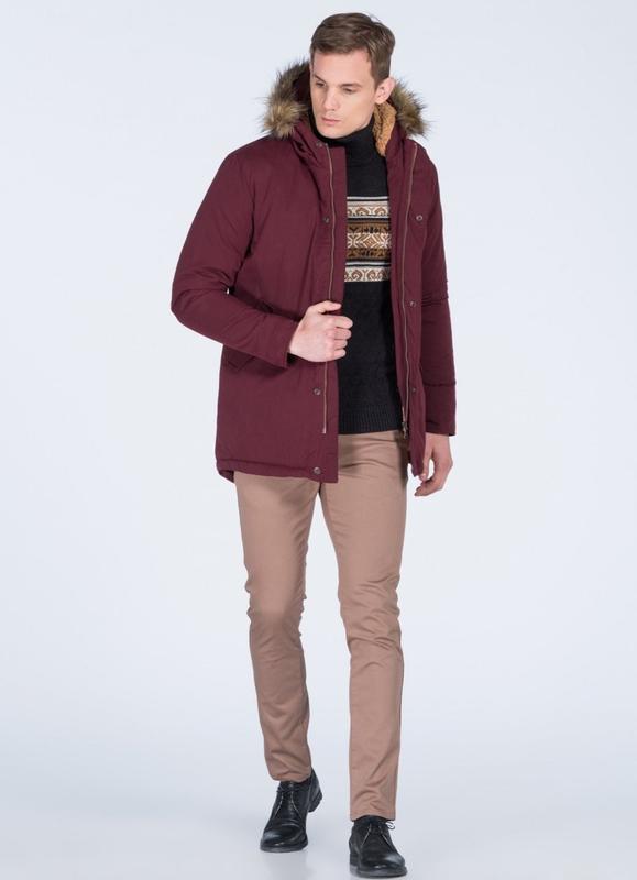 Бордовая мужская зимняя куртка, парка на меху - Фото 4