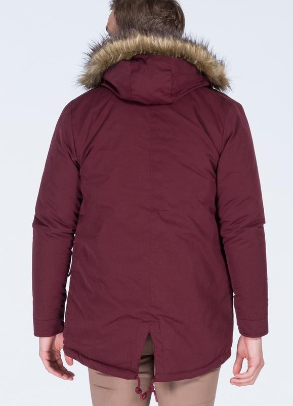 Бордовая мужская зимняя куртка, парка на меху - Фото 5