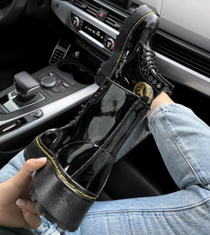 Ботинки женские зимние на платформе dr. martens fur patent pla... - Фото 4