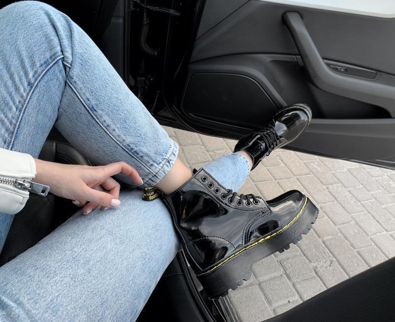 Ботинки женские зимние на платформе dr. martens fur patent pla... - Фото 5