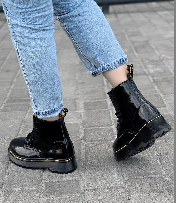 Ботинки женские зимние на платформе dr. martens fur patent pla... - Фото 6