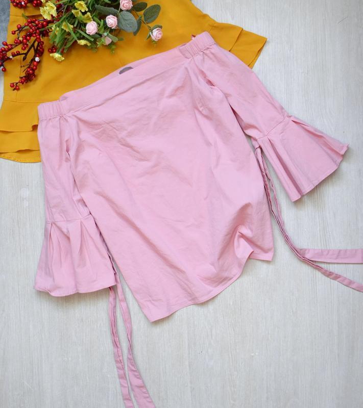 Нежно розовая блузка с открытыми плечами h&m