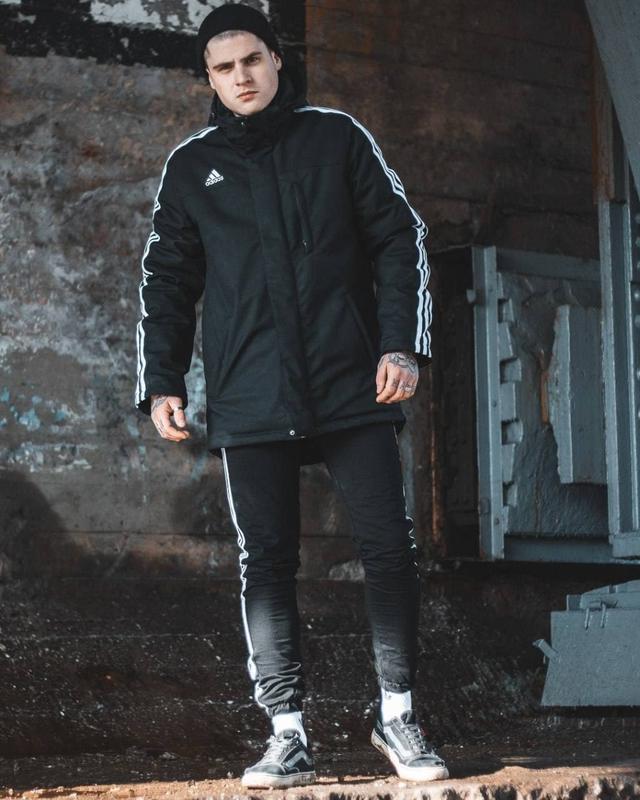 Мужская черная утепленная куртка весна/осень adidas originals????...