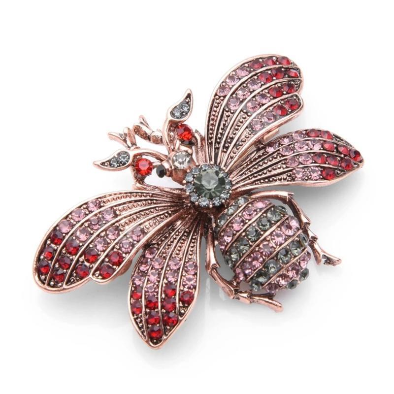 Шикарная брошь бабочка/кристаллы/розовый/красный/тренд