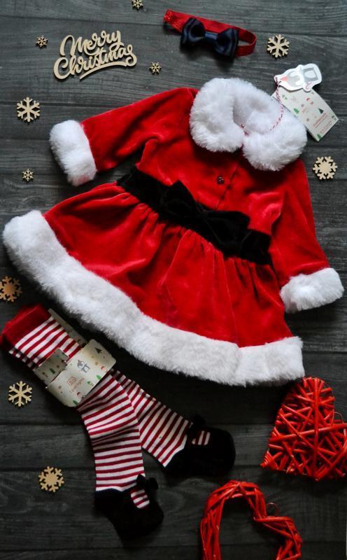 Офигенное новогоднее платье колготы и повязка  mothercare