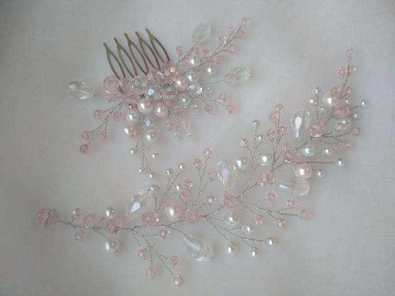 Свадебное украшение в прическу комплект украшений гребень веточка