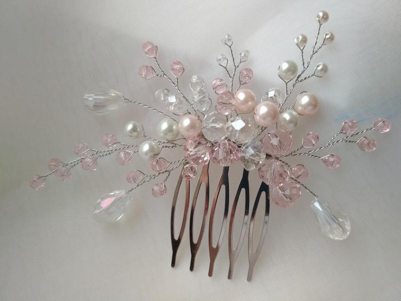 Свадебное украшение в прическу комплект украшений гребень веточка - Фото 3