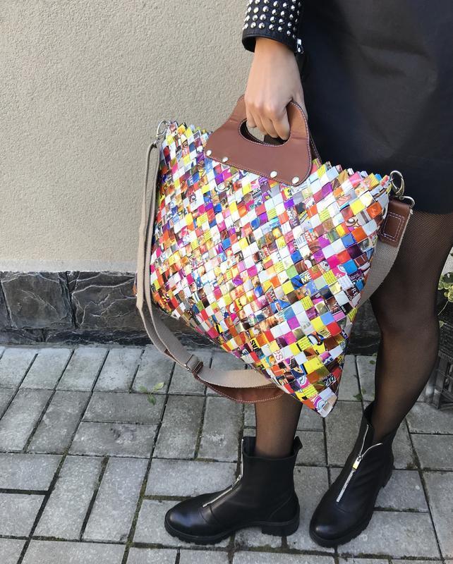 Эксклюзив,большая,эко сумка ручной работы из глянцевых фантиков