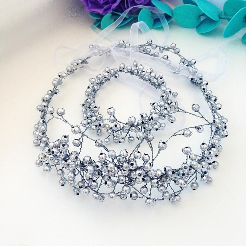 Серебристый комплект: венок-тиара и браслет