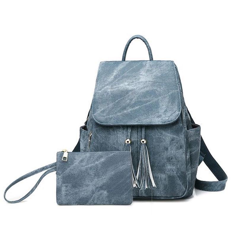 Женская сумка - рюкзак HiFlash черная Синий - Фото 3
