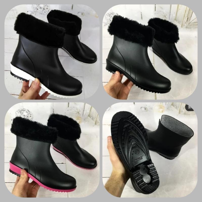 Женские зимние утепленные резиновые ботинки, сапоги. три цвета