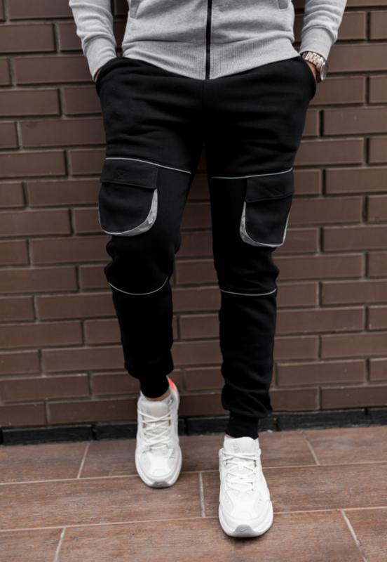 Черные утепленные штаны мужские с рефлективными вставками