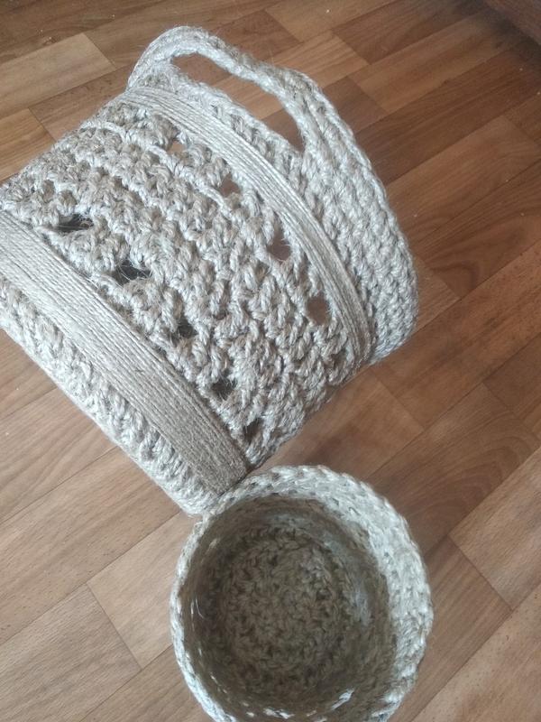 Корзины круглые из джутовой нити - Фото 8
