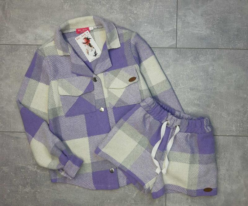 Стильный теплый костюм. рубашка и шорты