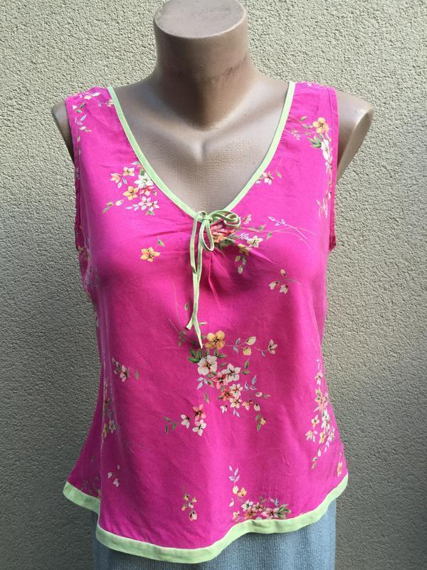 Винтаж,легкая,романтическая блуза,майка,цветочный принт,шелк100%