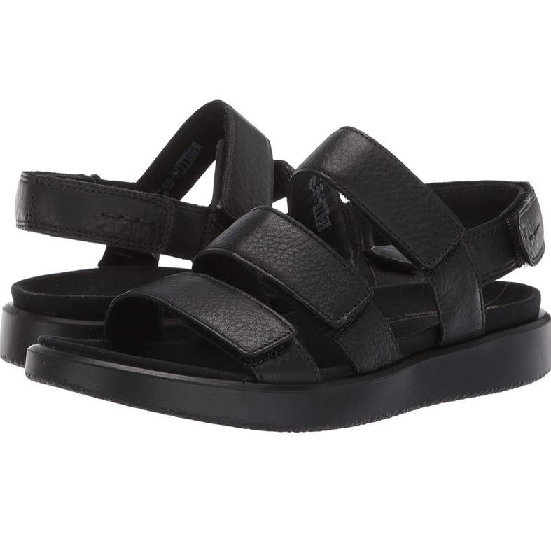 Шикарные удобные кожаные стильные чёрные босоножки сандалии ecco