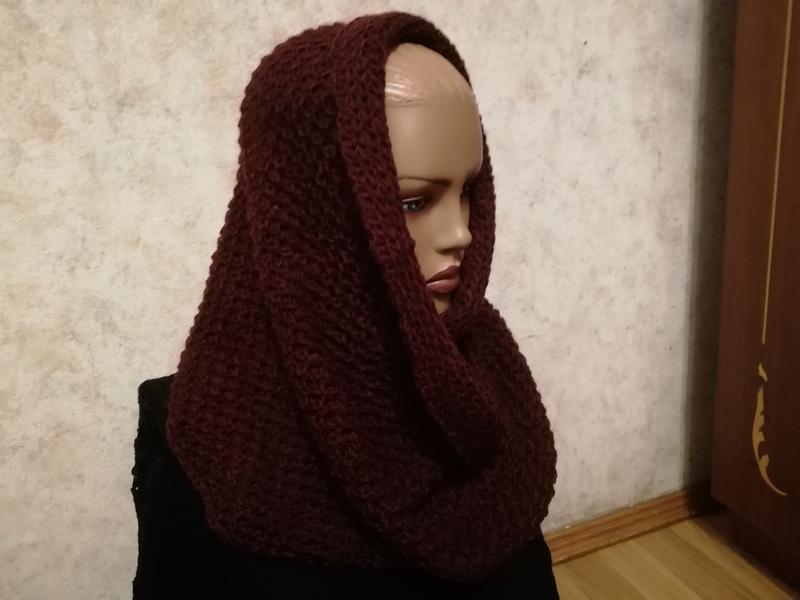 Стильный шарф снуд марсала