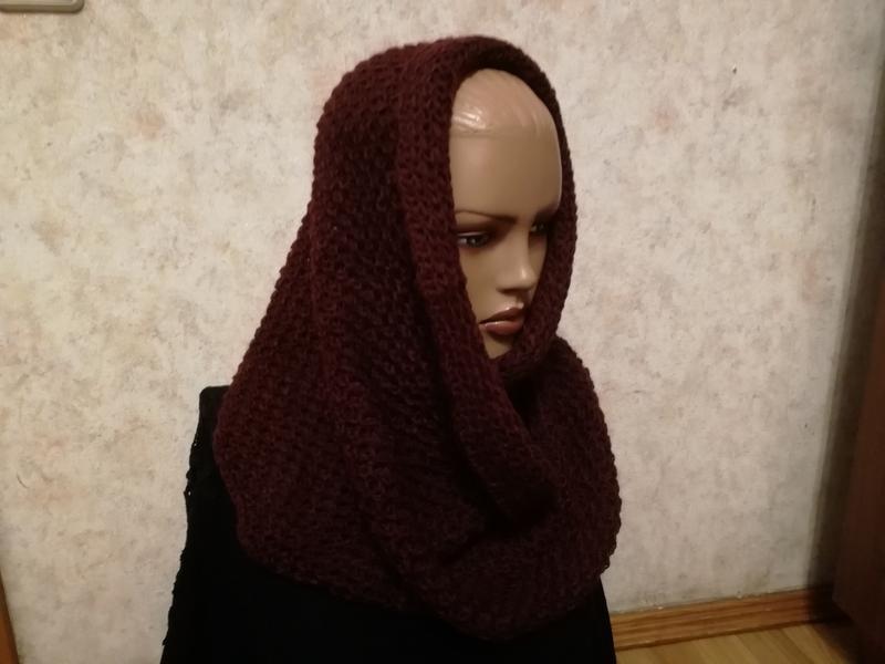 Стильный шарф снуд марсала - Фото 2