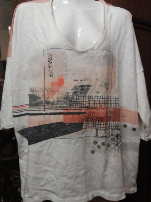 Свитшот-удлиненная футболка с цветной спинкой-хл--2хл р