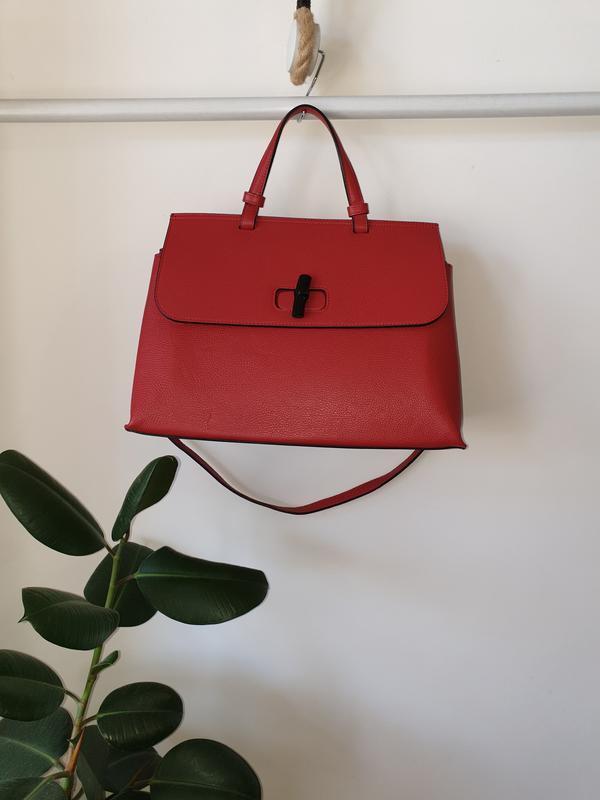 Большая красная кожаная итальянская сумка varese