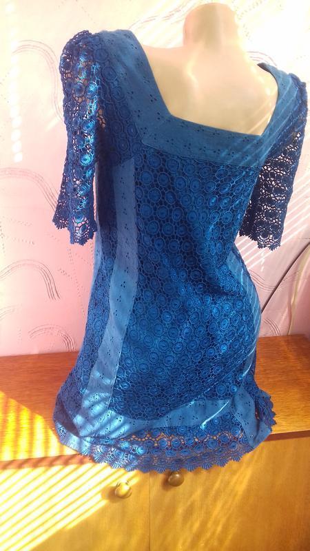 Новое синее шелковое платье шелк с подкладкой р.с s 8/36 marks... - Фото 3