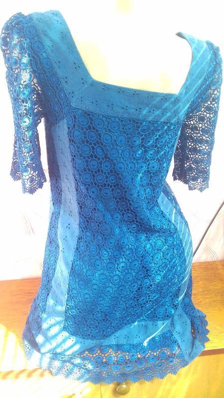 Новое синее шелковое платье шелк с подкладкой р.с s 8/36 marks... - Фото 4
