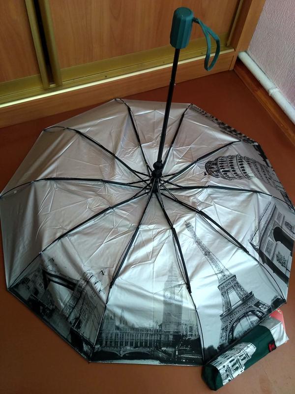 Зонт полуавтомат внутри рисунок на серебре, зелёный,10спиц ант... - Фото 6