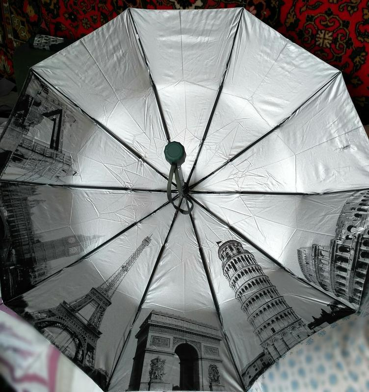 Зонт полуавтомат внутри рисунок на серебре, зелёный,10спиц ант... - Фото 8