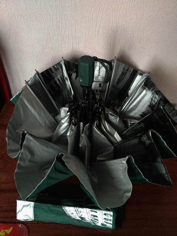 Зонт полуавтомат внутри рисунок на серебре, зелёный,10спиц ант... - Фото 9