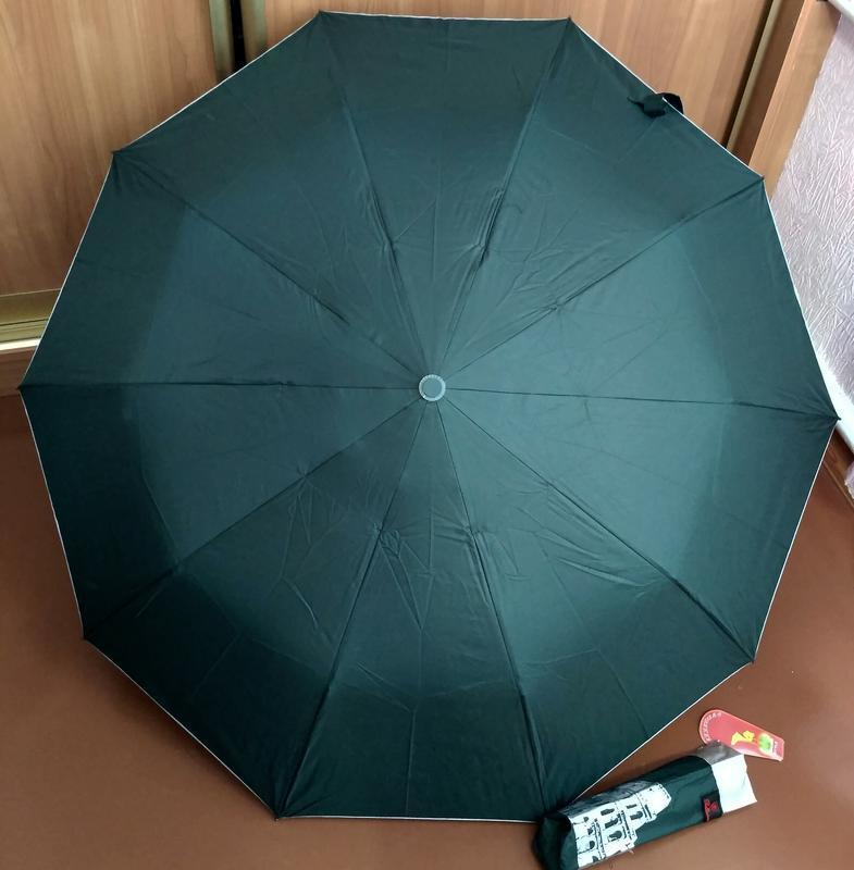 Зонт полуавтомат внутри рисунок на серебре, зелёный,10спиц ант... - Фото 10