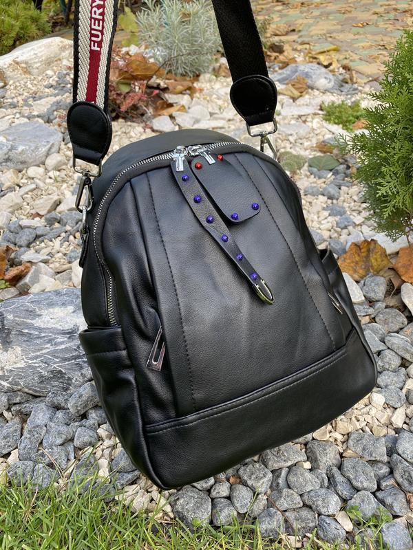 Рюкзак черный городской женский - Фото 3