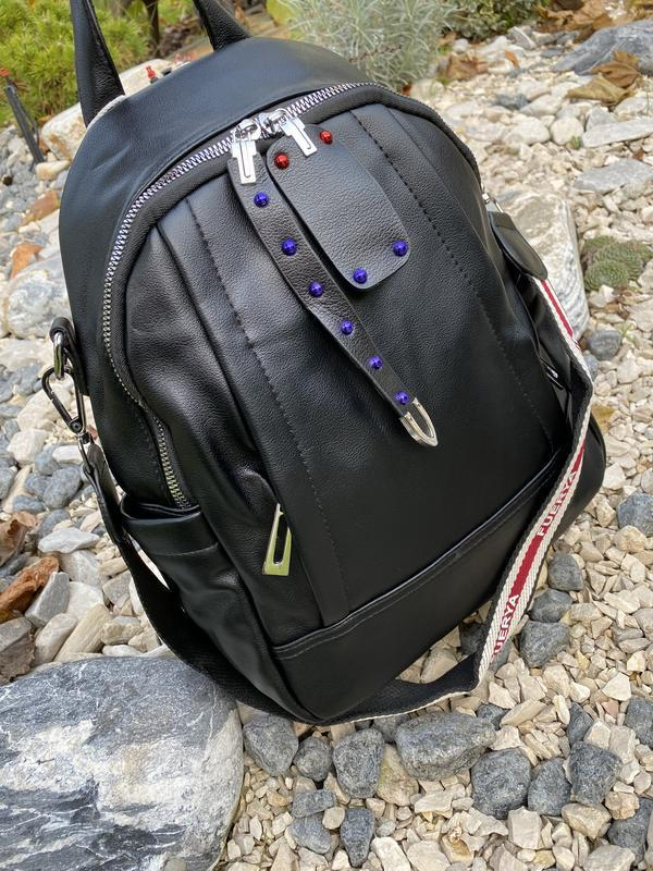 Рюкзак черный городской женский - Фото 4