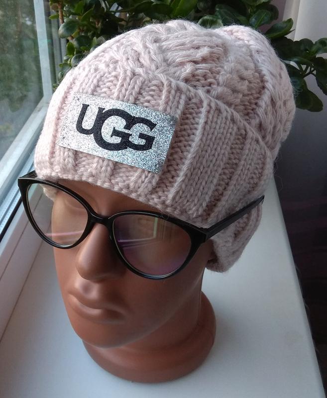 Новая стильная шапка с подворотом, нюдовая