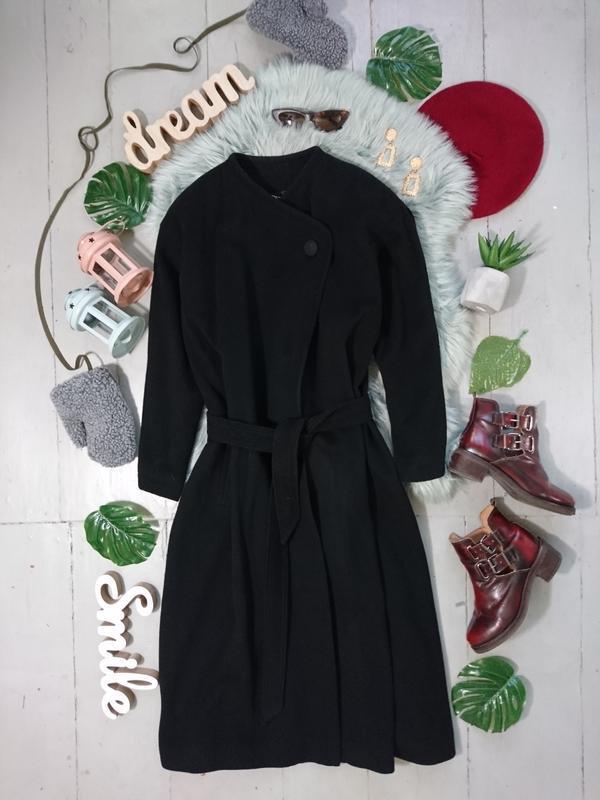 Актуальное  винтажное шерстяное миди пальто-халат на запах #37