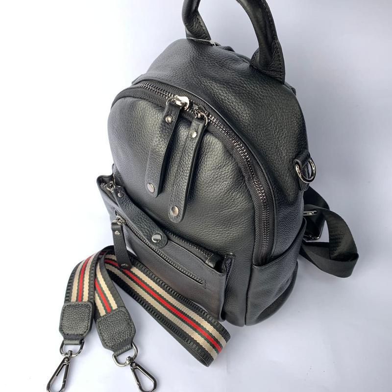 Женский кожаный рюкзак/чёрный кожаный рюкзак-сумка/городской р...