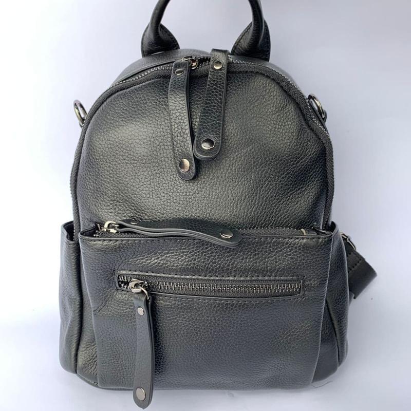 Женский кожаный рюкзак/чёрный кожаный рюкзак-сумка/городской р... - Фото 2