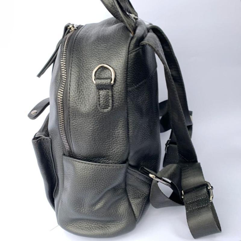 Женский кожаный рюкзак/чёрный кожаный рюкзак-сумка/городской р... - Фото 3