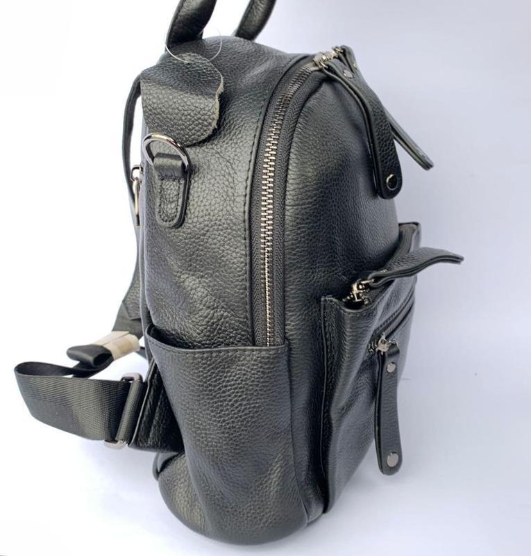 Женский кожаный рюкзак/чёрный кожаный рюкзак-сумка/городской р... - Фото 4