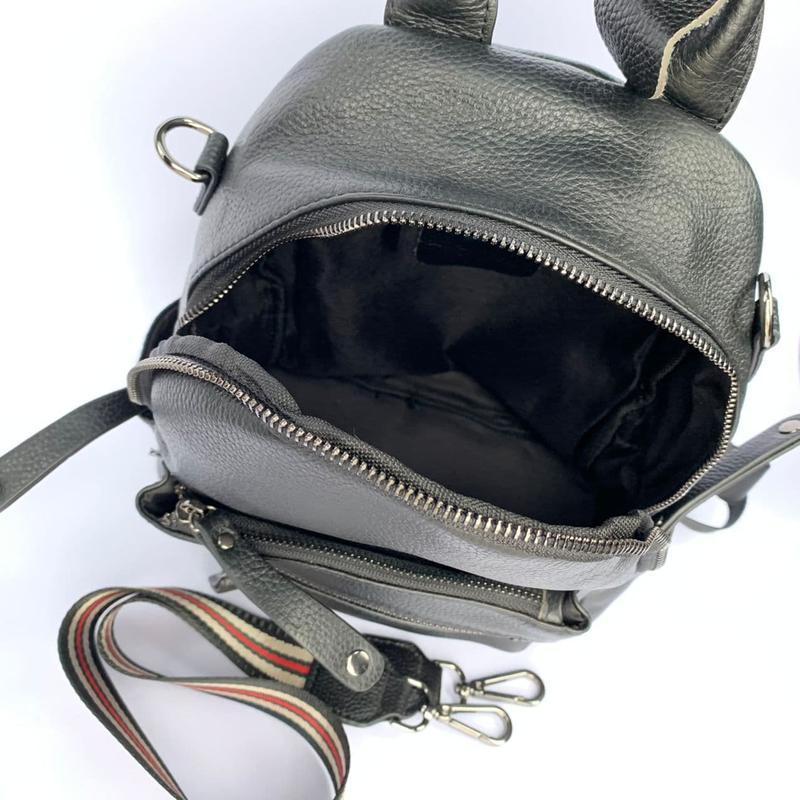 Женский кожаный рюкзак/чёрный кожаный рюкзак-сумка/городской р... - Фото 5