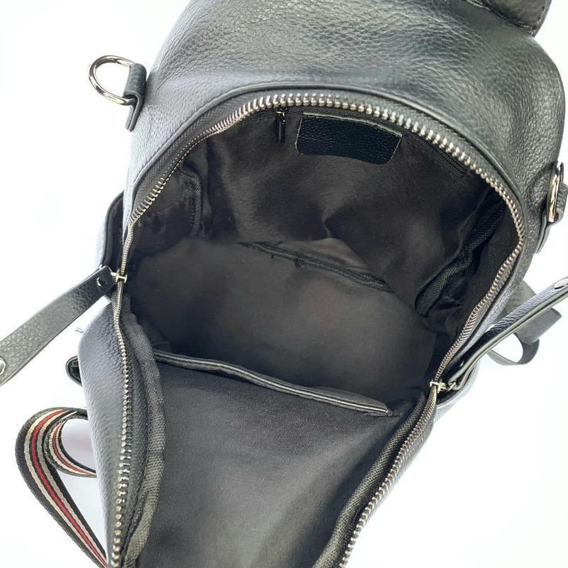 Женский кожаный рюкзак/чёрный кожаный рюкзак-сумка/городской р... - Фото 6