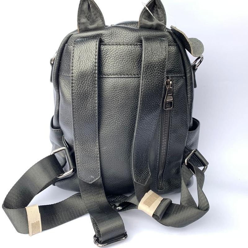 Женский кожаный рюкзак/чёрный кожаный рюкзак-сумка/городской р... - Фото 7